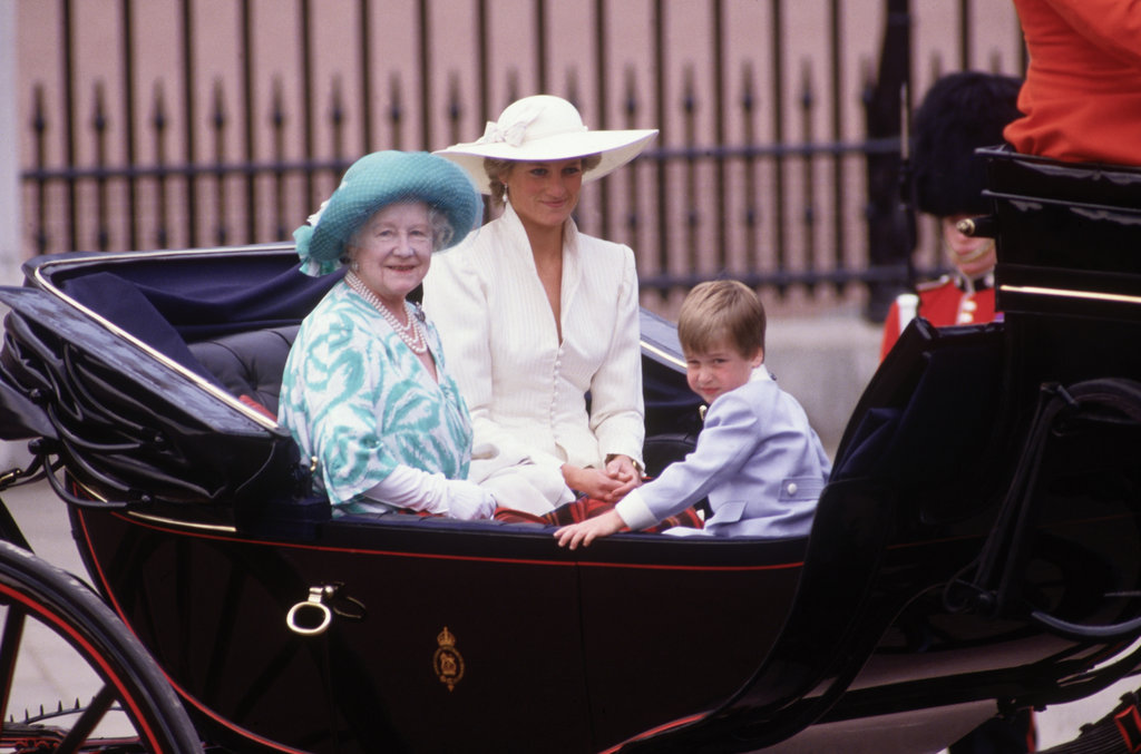 Princess Diana and Prince William rode with the queen mother during the June 1987 Trooping the Colour ceremony.