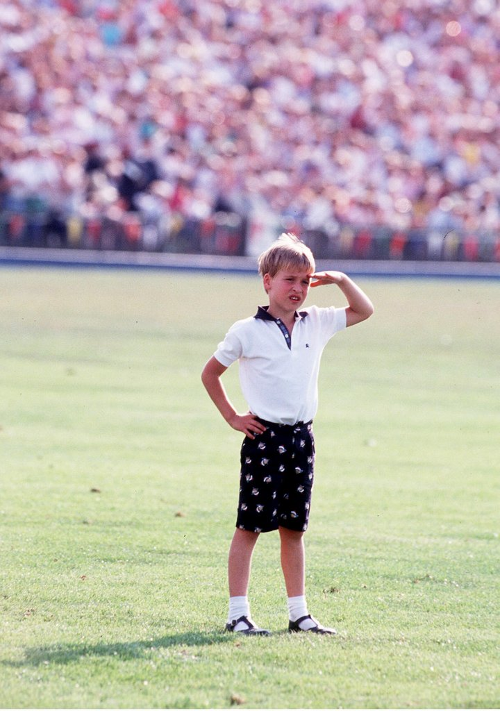 Prince William surveyed the Windsor polo ground in July 1986 in England.