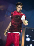 Justin Bieber wore a bright red costume on stage at the MuchMusic Video Awards in Toronto.