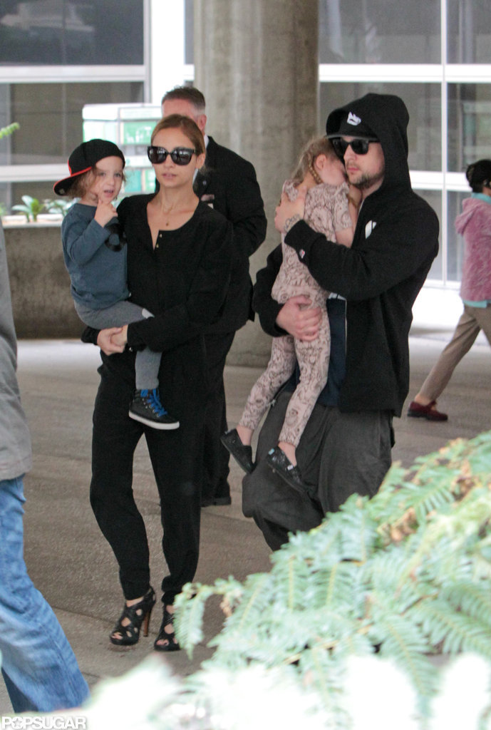 Nicole Richie, Joel Madden, Harlow Madden, and Sparrow Madden made their way through LAX in June 2012.