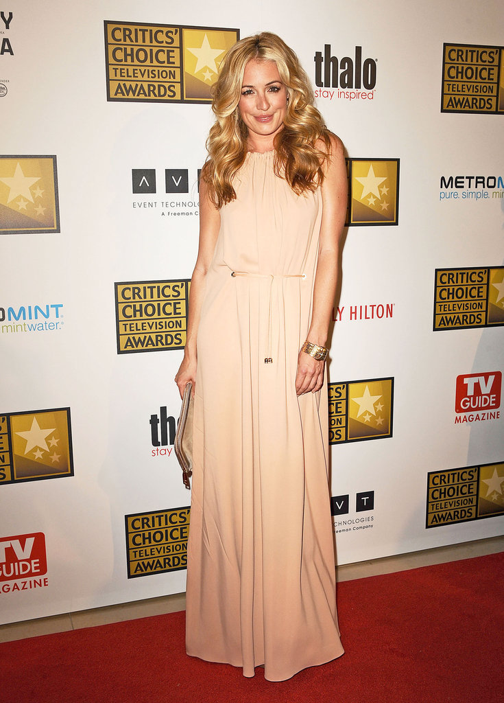 Cat Deeley looked ultrachic in an easy nude-hued maxi dress.
