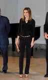 Attention to detail made Letizia's look pop at an event in Madrid in May 2012. Her all-black separates got a cool contrast with a dose of gold dots on her blouse and a flash of metallics on her coordinating accessories.