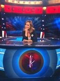 Olivia Wilde made herself comfortable on the set of The Colbert Report. Source: Twitter user oliviawilde