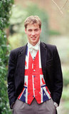 Prince William showed his English pride at Eton in June 2000.