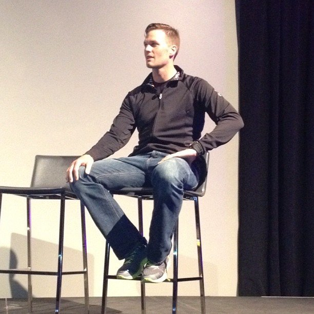 Tom Brady talked to fans at an event for Under Armour. Source: Instagram user popsugar