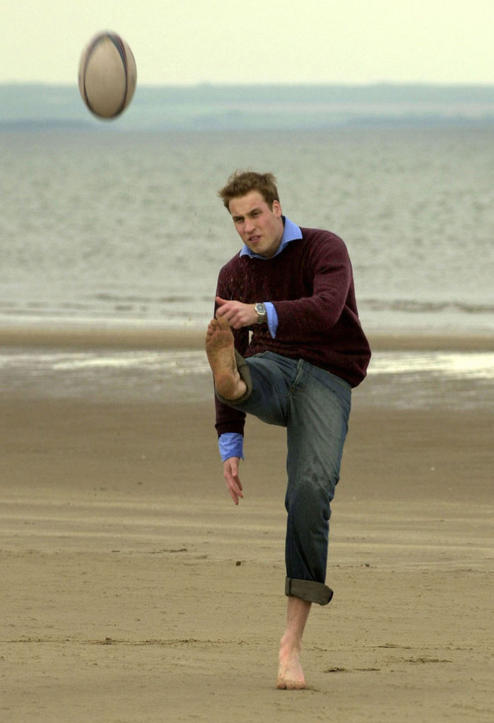 An athletic Prince William showed off his rugby skills in May 2003 at St. Andrews in Scotland.