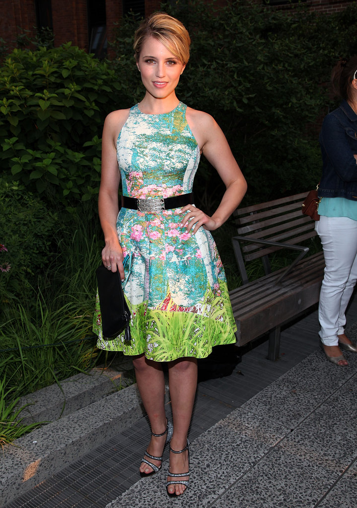 Dianna Agron wore a belted floral dress to Coach's Summer Party on the High Line in NYC.