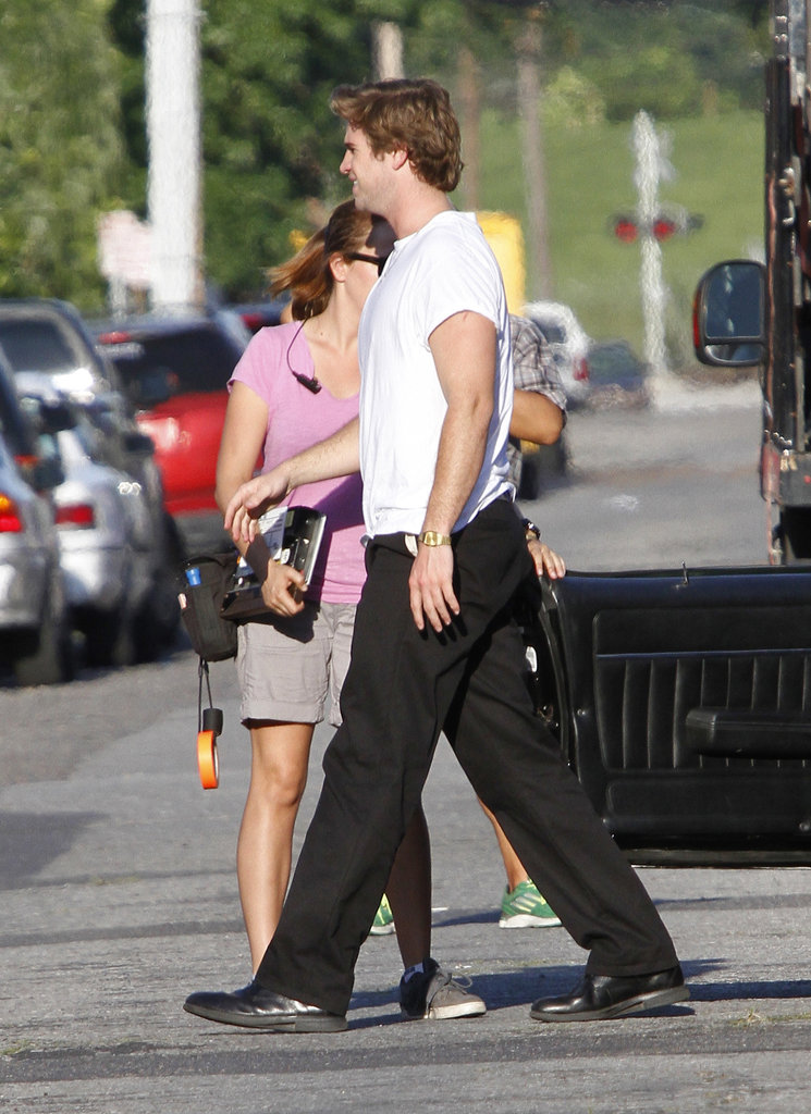 Liam Hemsworth walked on the set of Empire State between takes.