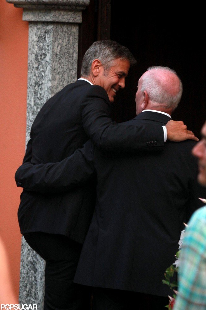 George Clooney greeted a friend.