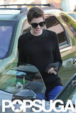 Anne Hathaway hopped into a car with her fiancé.