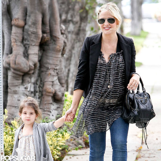 Sarah Michelle Gellar kept her baby bump disguised under a printed top.