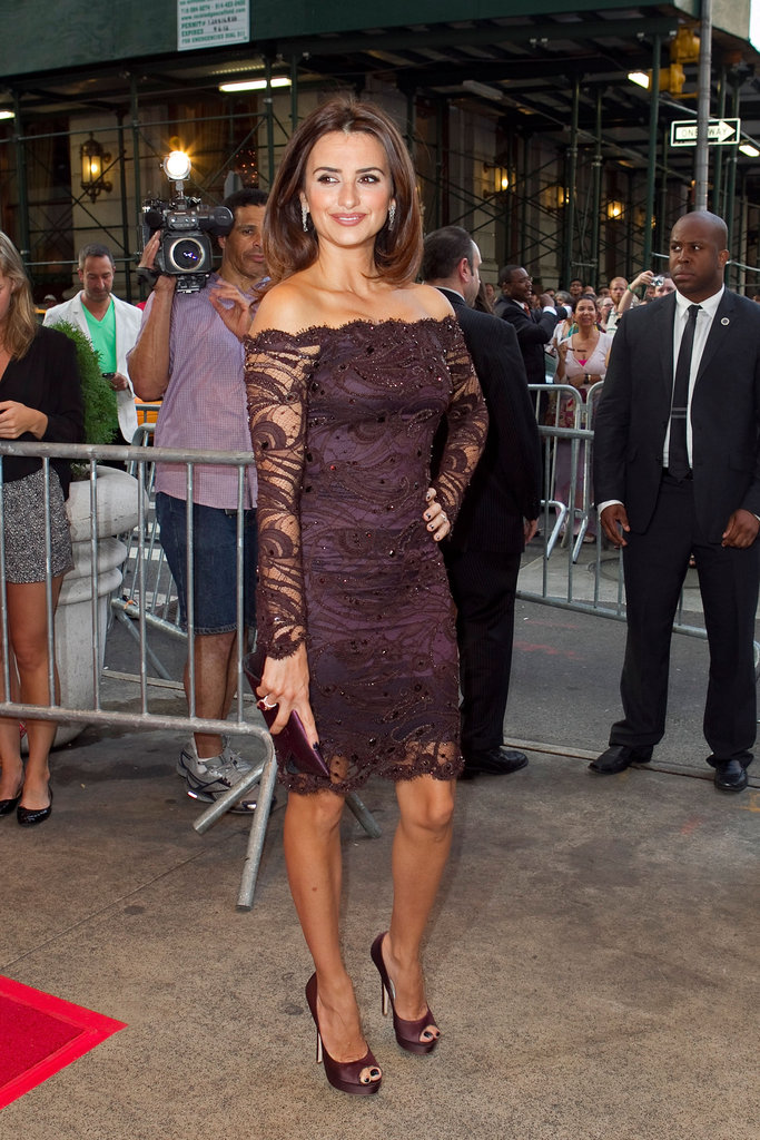 Penelope Cruz wore a lacy Emilio Pucci dress in NYC.