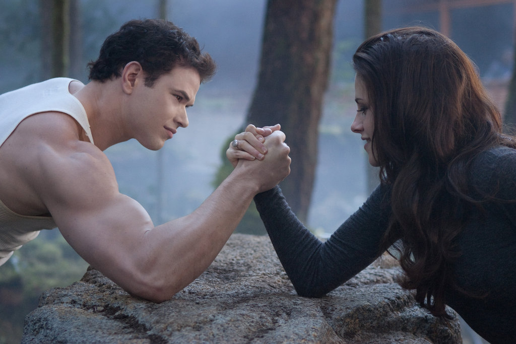 Kristen Stewart as Bella and Kellan Lutz as Emmett in Breaking Dawn Part 2.