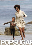 Halle Berry and Nahla Aubry played at the beach in Malibu.