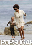 Halle Berry and Nahla Aubry played at the beach in LA.