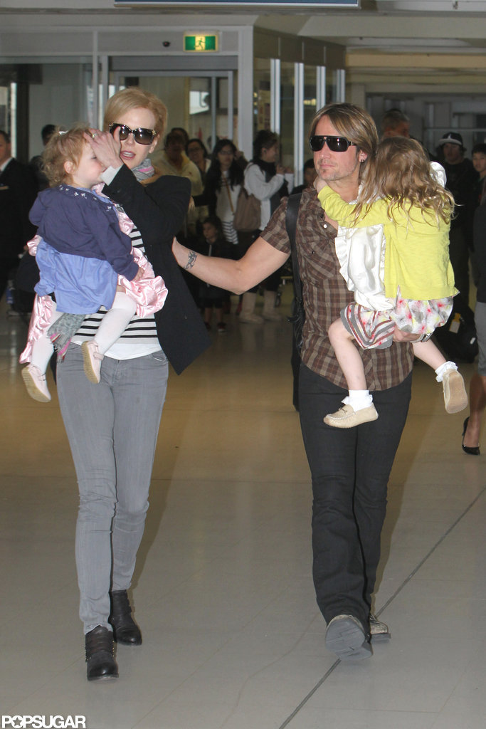 Nicole Kidman and Keith Urban traveled with daughters Faith Urban and Sunday Urban.