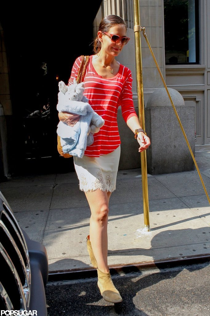 Katie Holmes headed out in the morning.