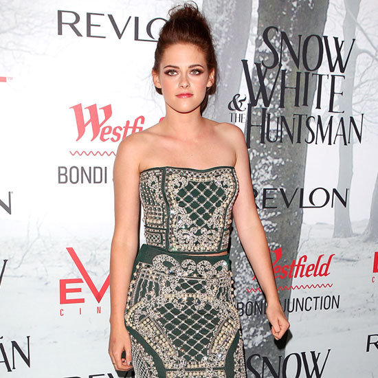 Kristen Stewart goes exotic in a two-piece Balmain number at the Snow White and the Huntsman premiere in Australia — see it from every angle!