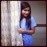 Mindy Kaling showed off her scrubs on the set of The Mindy Project. Source: Instagram user marctwain