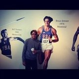 Bruce Jenner posed next to his Olympic mural. Source: Instagram user brodyjenner