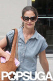 Katie Holmes wore square shades and a button-down shirt in NYC.