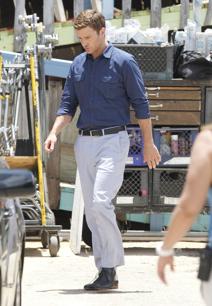Justin Timberlake sported a black belt and shoes on the set of Runner, Runner.