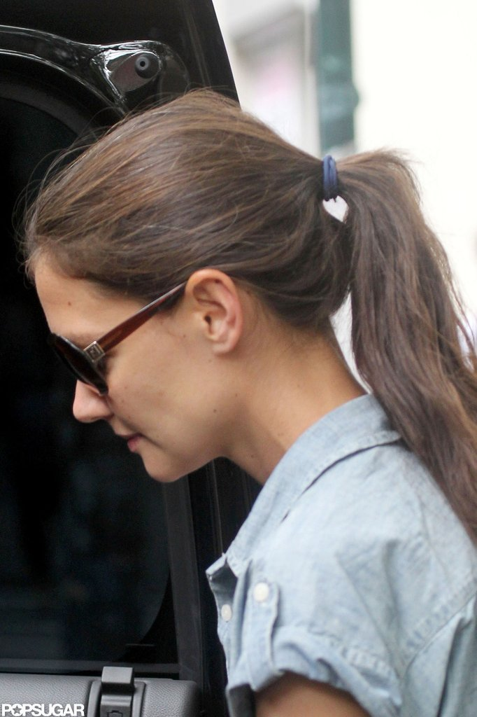 Katie Holmes wore her hair in a cute ponytail while out in NYC.