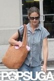 Katie Holmes looked cute in an all-denim outfit.