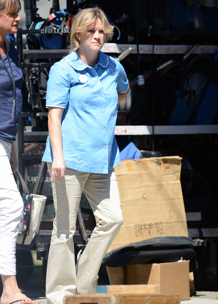 Reese Witherspoon wore a light blue shirt and khaki pants on the set of Devil's Knot in Georgia.