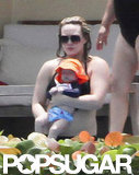 Hilary Duff wore a black bikini with Luca in Mexico.