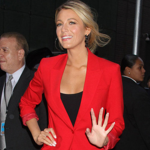 Blake Lively in Red Suit at Good Morning America Pictures