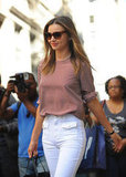 Miranda Kerr took a walk in NYC.