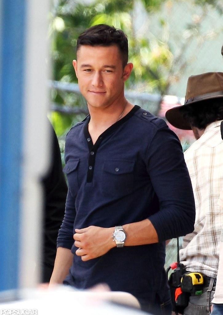 Joseph Gordon-Levitt was hard at work on the set of Don Jon's Addiction.