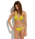 We love the citrus-infused color for standing out at the beach almost as much as we love the ultraflattering halter top.  Madewell Treeshower Bikini ($98)