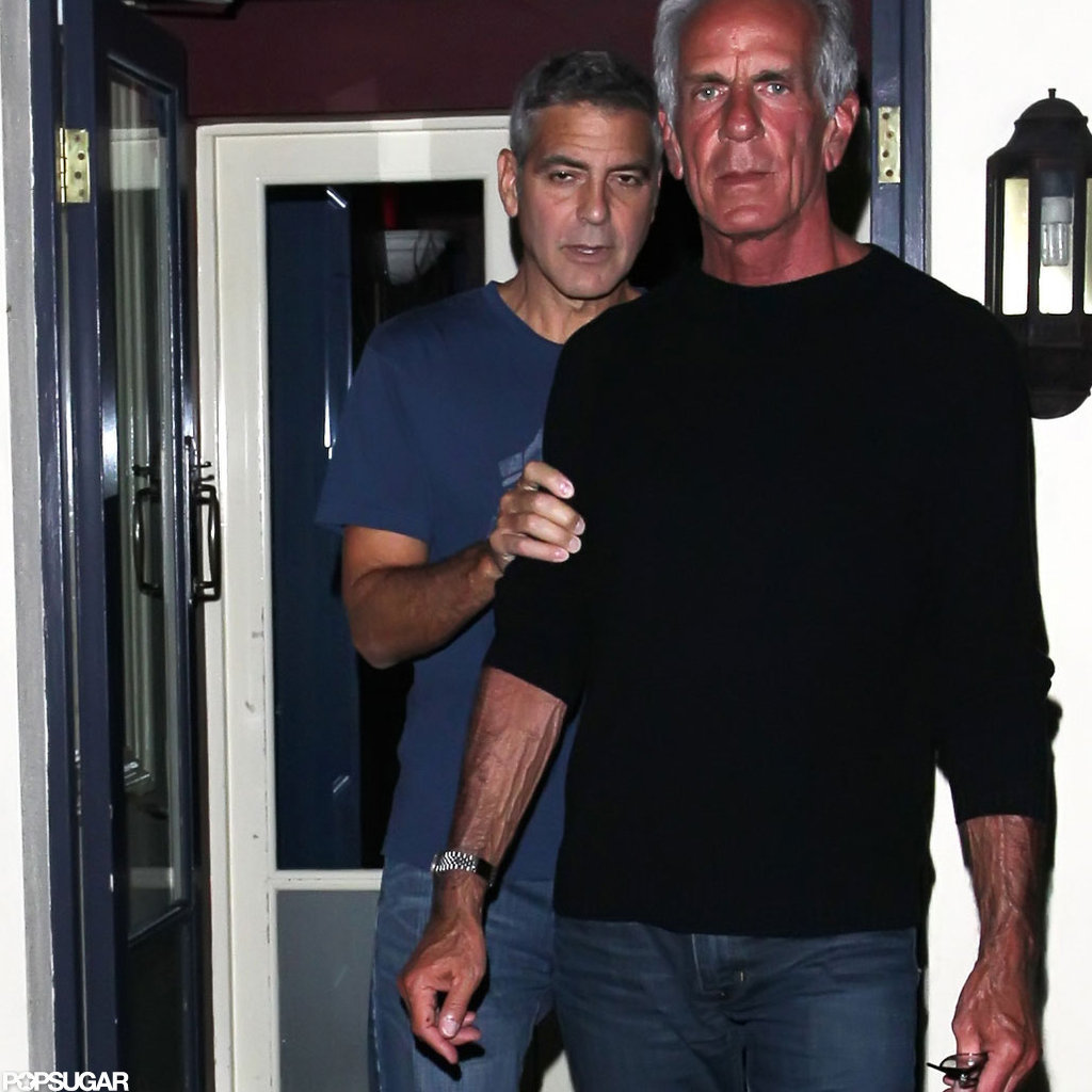George Clooney met up with Brad Pitt in England.
