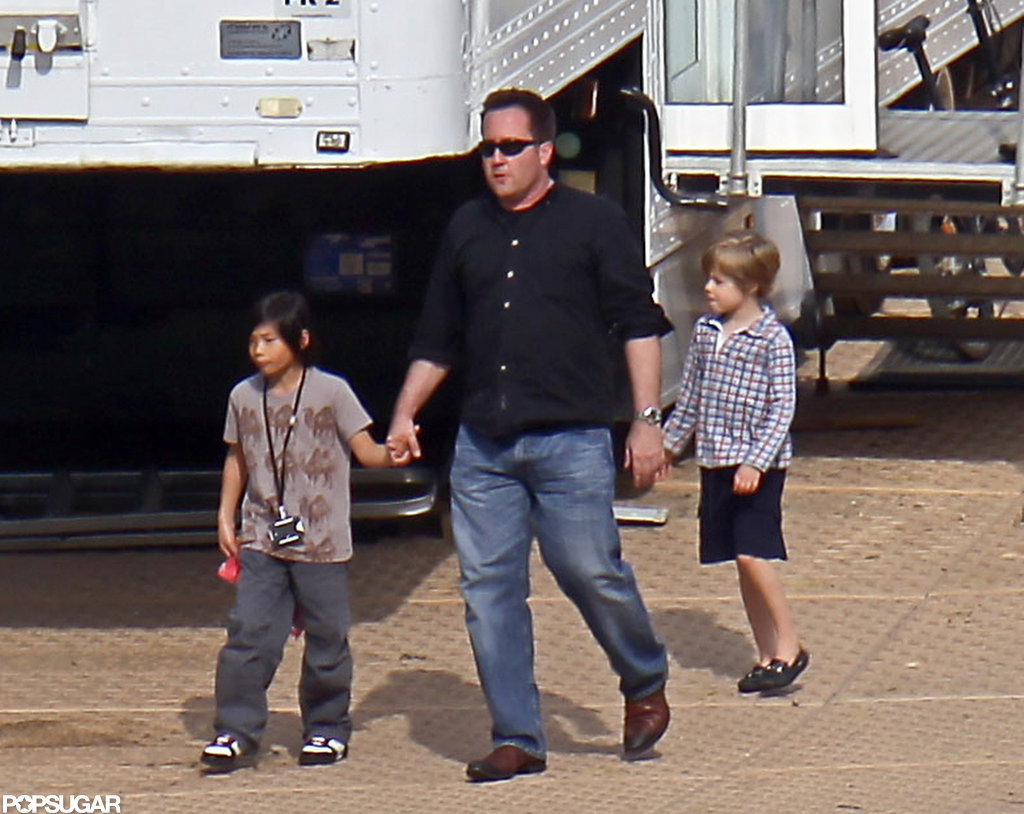 Pax and Shiloh Jolie-Pitt visited their mom on the set of Maleficent in June.