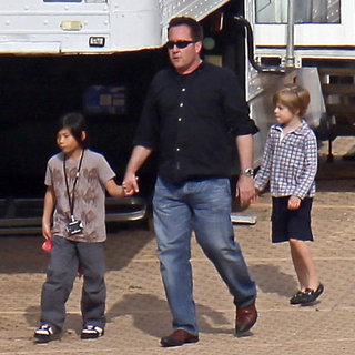Shiloh and Pax on the Set of Angelina Jolie's Maleficent