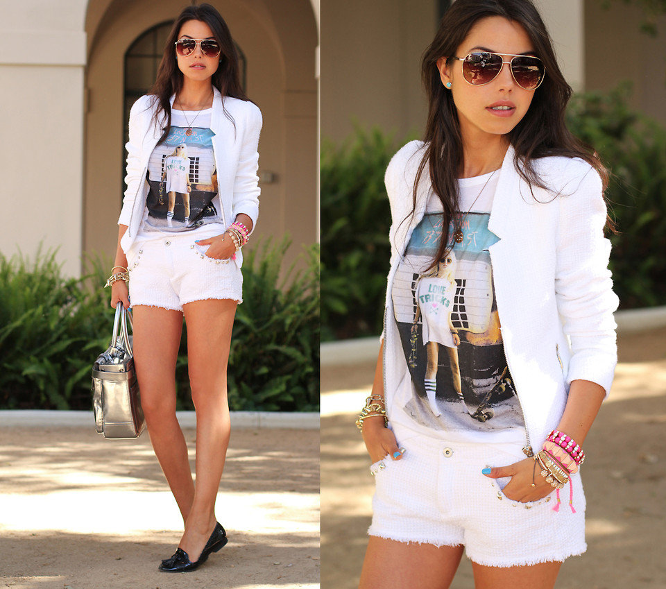 Rock white cutoffs with a more tailored white complement, like a cool boyfriend blazer. Photo courtesy of Lookbook.nu