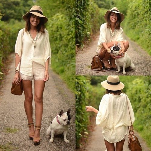 Pair your nudes together for a fresh, monochromatic look, then add a boho-chic floppy hat. Photo courtesy of Lookbook.nu