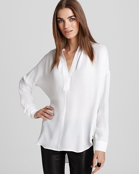 Perfectly billowy, but crisp enough for work-attire. Vince Shirred Neckline Half Placket Tunic ($275)