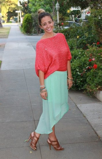Mint Zara Hi Low Skirt. Coral Sequin Sweater. Cognac Braided Heels. Ombre Hair in a Bun.
