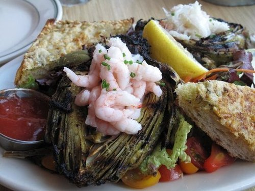 Bay Shrimp-Stuffed Grilled Artichoke