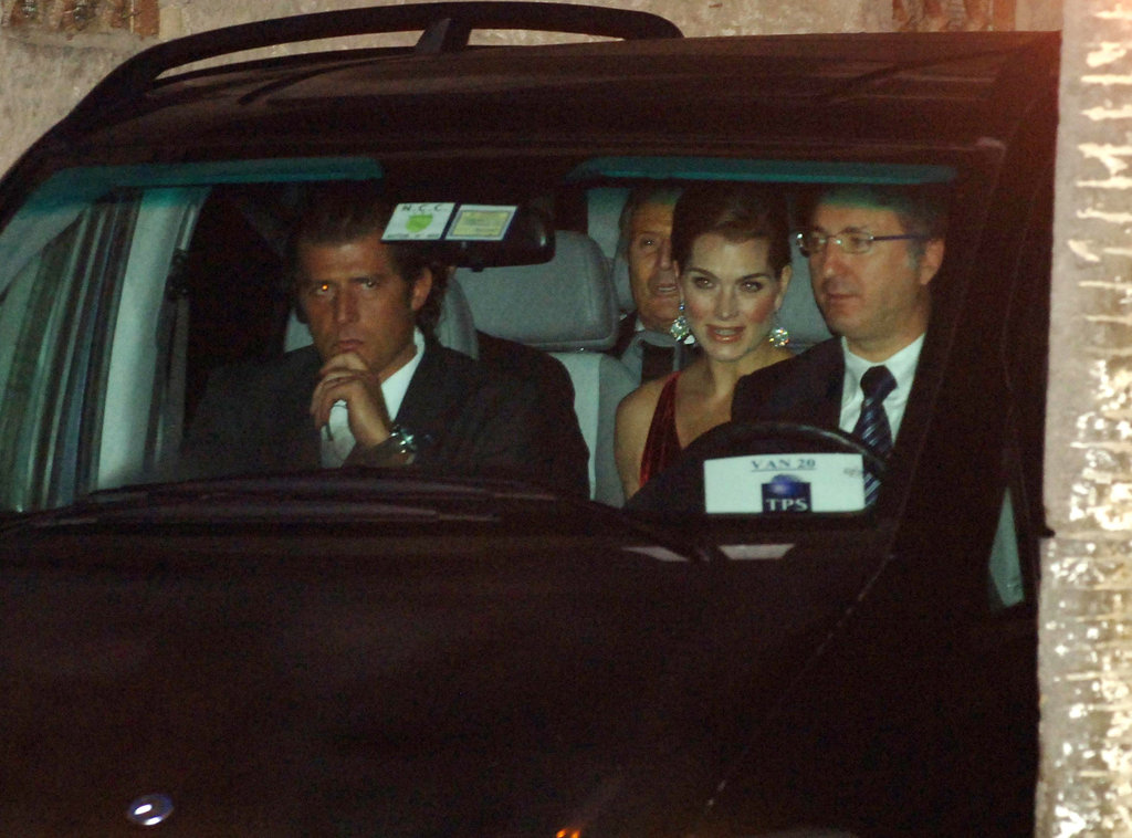 Brooke Shields caught a ride to the wedding.
