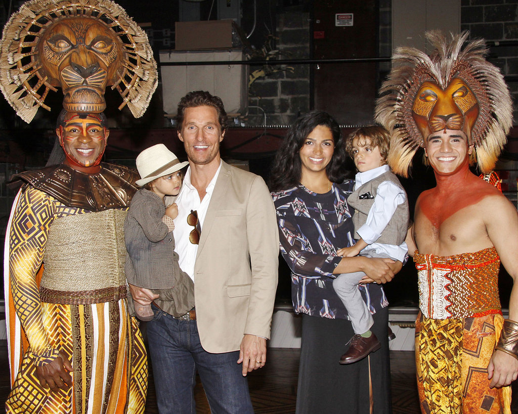 It was a sweet family outing for Matthew McConaughey, Levi McConaughey, Vida McConaughey, and Camila Alves McConaughey, watching The Lion King on Broadway in June 2012.  Photos courtesy Joe Marzullo/Disney