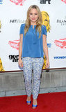 Kristen Bell looked cute in a blue ensemble at the Hit and Run screening.