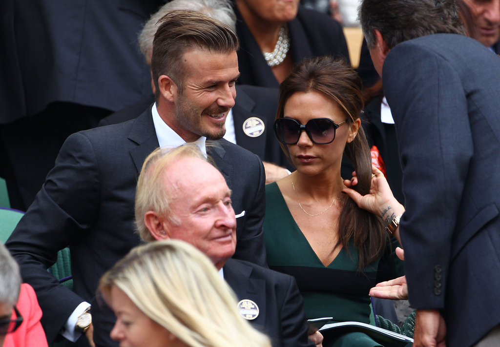 David and Victoria Beckham sat close in the stands at Wimbledon.