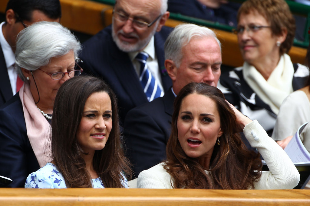 Kate and Pippa Middleton sat together in the stands during the match.