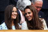 Kate and Pippa Middleton chatted in the stands.