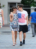 Keira Knightley's finacé James Righton sported an American flag tee while they strolled around NYC in July 2012.