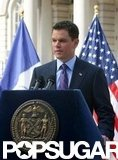 Matt Damon gave a speech in front of American flags while filming in NYC in September 2009.